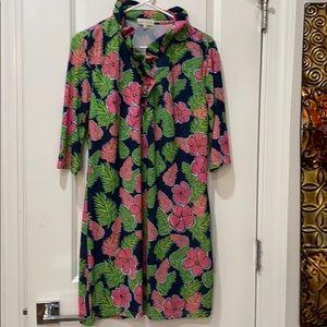 floral midi dress shirt dress